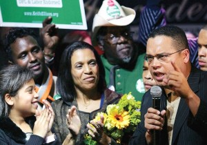 KEITH ELLISON speaks to supporters as he runs for Congress in 2006. Ten years later he is seeking to chair the Democratic Party.. (photo credit:REUTERS)