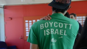 A pro-BDS student at an Open Hillel Conference. Credit: Gili Getz