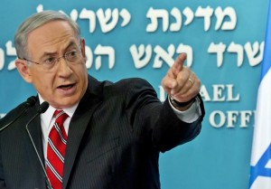 Israel's Prime Minister Netanyahu gestures during a news conference in Jerusalem