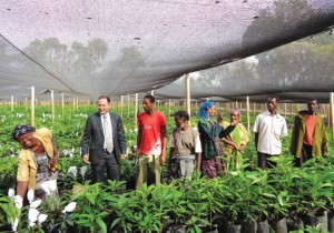 MASHAV head Gil Haskel (second from left) visits a MASHAV nursery for avocado trees in Ethiopia, March 2016. (photo credit:GIL HASKEL)